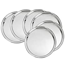 King International 100% Stainless Steel Dinner Plate | Set of 6 Mess Trays | Halwa Plate - 27cm Great for Camping, Kids Lunch and Dinner or Every Day Use