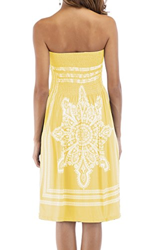 Bohemian Dress Beach Dress Mini Floral Yellow Cover Women's ups Strapless Casual Zyyfly vxZWCZ