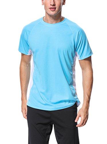 ATTRACO Mens Rash Guard Compression Base Layer UPF 50+ Quick Dry Swimming Shirt Aqua Medium ()