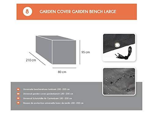 MaximaVida Schwarze Schutzhülle für Gartenbank 180 cm bis 200 cm - 600 Gramm Ausführung