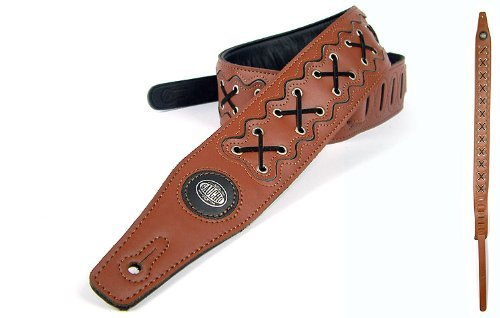Brown 'Biker Series' Leather Guitar Strap for Electric/Acoustic/Bass (Electric Rock Guitar Straps)