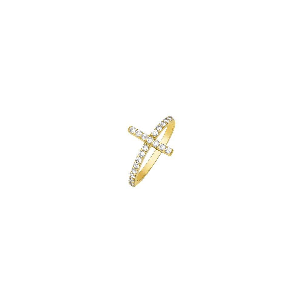 14ct Or jaune Side-ways Oxyde de Zirconium Croix Bague-Taille de la bague Options Gamme: L au P JewelryWeb MIR350833Y