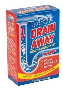 DRAIN AWAY DRAINS UNBLOCKER UNBLOCK CLEANING SINKS SHOWERS BATHS HOME BATHROOM
