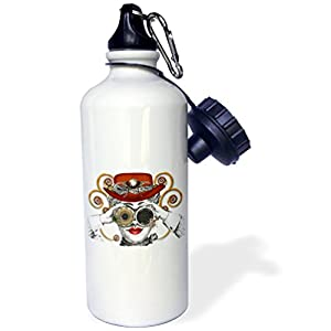 "3dRose ""Looking Steampunked Steam Punk Vintage Design"" Sports Water Bottle, 21 oz, White"