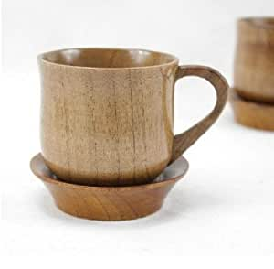 Wooden coffee tea cup mug with coaster the for Where to buy cool coffee mugs