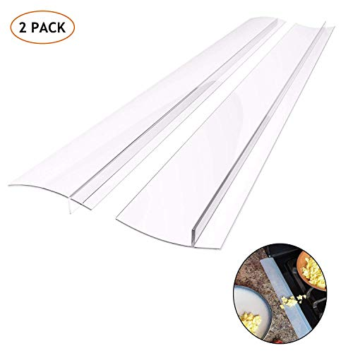 Kitchen Silicone Stove Counter Gap Cover, Easy Clean Heat Resistant Wide & Long Gap Filler, Seals Spills Between Counter, Stovetop, Oven, Washer & Dryer, Set of 2 (25 Inches, semi-clear) (Kitchen Oven Range)