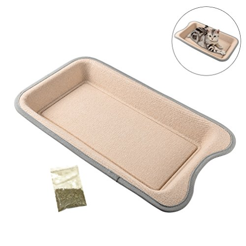 Petacc Cat Scratcher Funny Cat Bed Wear-proof Pet Scratching Toy with Catnip, Beige by Petacc (Image #6)