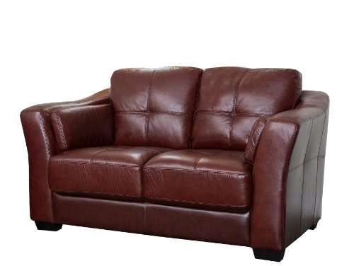 Abbyson Living Crimson Italian Leather Loveseat, Burgundy - Burgundy Leather Loveseat