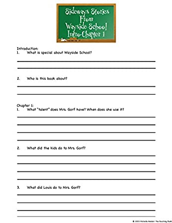 Workbook first grade worksheets pdf : Amazon.com : Sideways Stories from Wayside School Novel Study Unit ...