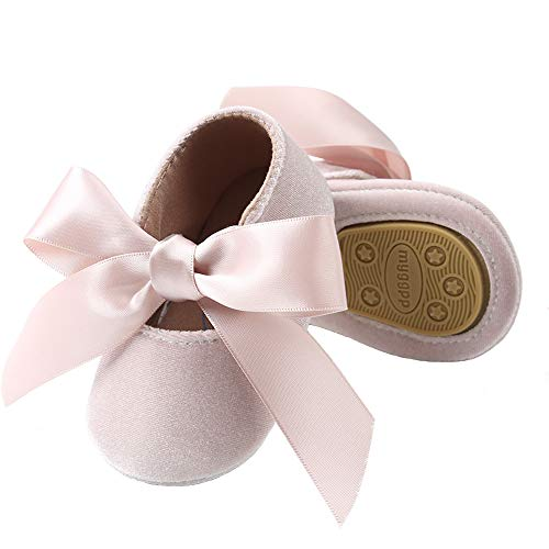 BubbleColor Baby Girls Princess Shoes Newborn Infant Toddler Bow Mary Jane Prewalker Dress Crib Shoes (M:6-12 Months/4.72