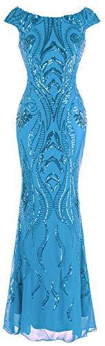 Angel-fashions Women's Bateau Cap Sleeve Floral Sequin Sheath V Back Evening Dress (XXL, Light Blue)