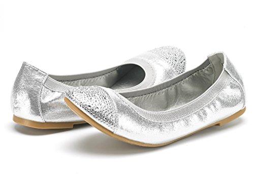DREAM PAIRS Damen Sole-Flex Ballerina Walking Wohnungen Schuhe D-Silber