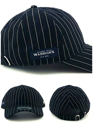 New Era Golden State Warriors 9Twenty Black Label Blue Pinstripe Dad Strapback Hat ()