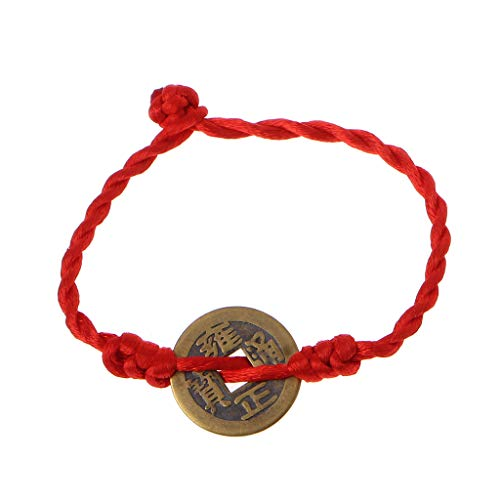 - Chinese Feng Shui Wealth Lucky Copper Coin Pendant Red String