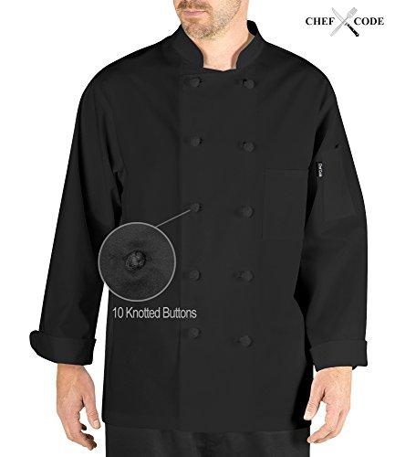 Chef Code Bistro Executive Coat 10 Knot Button CC121 (S, Black) - 10 Black Knot Button