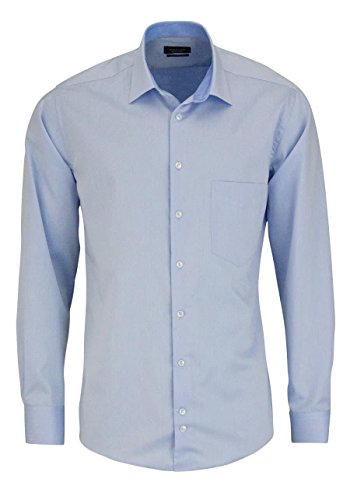 HATICO Regular Fit Hemd Langarm mit Brusttasche hellblau