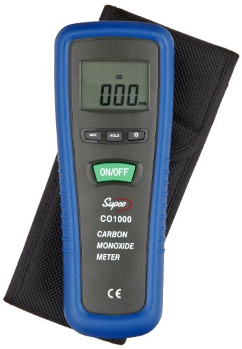 Supco CO1000 Carbon Monoxide Meter, 0 to 1000 ppm, 1 ppm Resolution, -10 ppm Accuracy