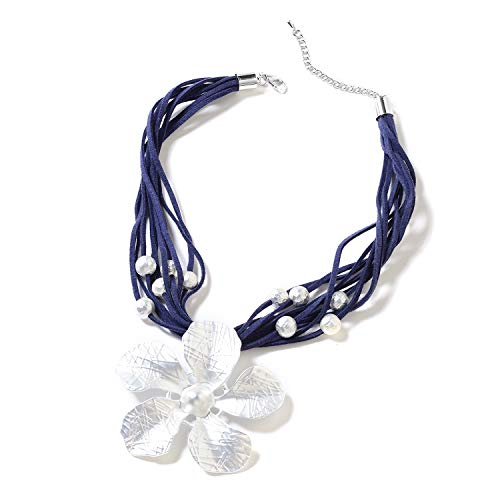Shop LC Delivering Joy Navy Multi Strand Faux Leather Silvertone Station Jasmine Flower Necklace for Women Jewelry Gift