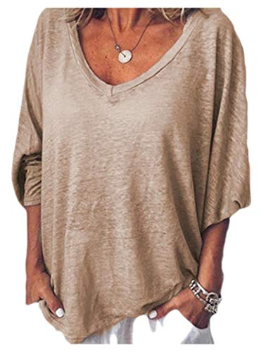 HEFASDM Camisas de camisetas de cor pura de cor pura Khaki M