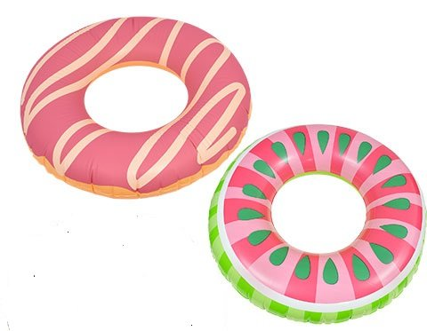Kids Spring Summer SET OF 2 Fun Backyard Outdoor Playtime Pool Lake Beach Swim Rings, 30 in. DONUTS (Jumbo Crystal Rings)