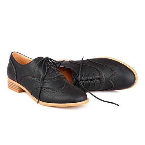 Susanny Women Classic Modern Sweet Low Heel Lace Up Carving Wingtip PU Black Brogue Oxfords Dress Shoes 10 B (M) US