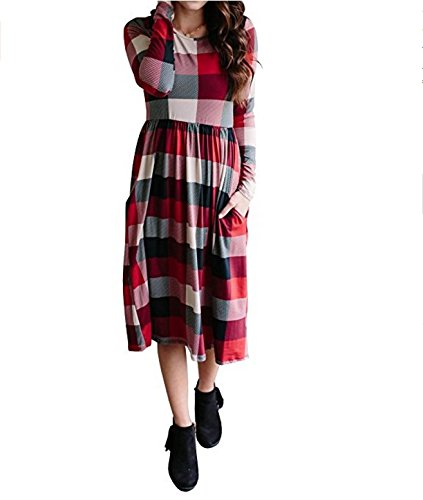 Quadri Collo Tasca Vestito Vestiti Da Invernali Rosso Ragazza Abiti A Eleganti Manica Abito Donna Moda Casual Chic Giorno Abbigliamento Con Lunga Autunno Larghi Rotondo Midi Classica TTwxqOIar