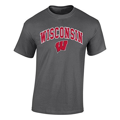 Elite Fan Shop NCAA Men's Wisconsin Badgers T Shirt Dark Heather Arch Wisconsin Badgers Dark Heather Medium