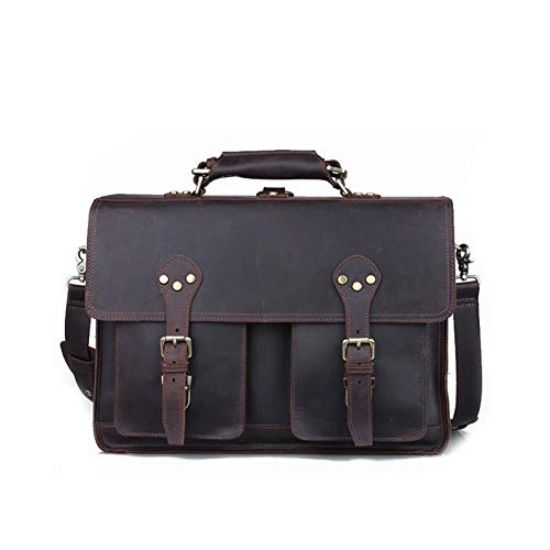 American Retro Bags - Men's New Briefcase, Crazy Horse Leather Messenger Bag, Men's European and American Fashion Shoulder Bag Retro,Backpack, Travel, Work, Daily Use.Dark Brown