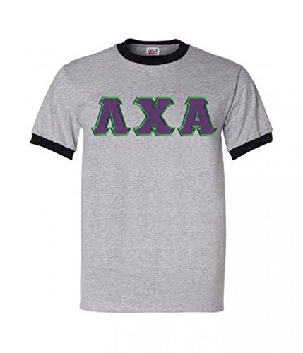- Lambda Chi Alpha Lettered Ringer Shirt XXX-Large Grey w/Black Trim