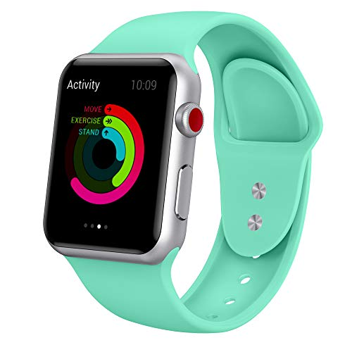 Yimzen Soft Silicone Sport Compatible for iWatch Band Strap Compatible for Apple Watch Series 4 3 2 1 Sport e Watch Series 4 3 2 1 Sport Edition 42mm 44mm S/M MintGreen