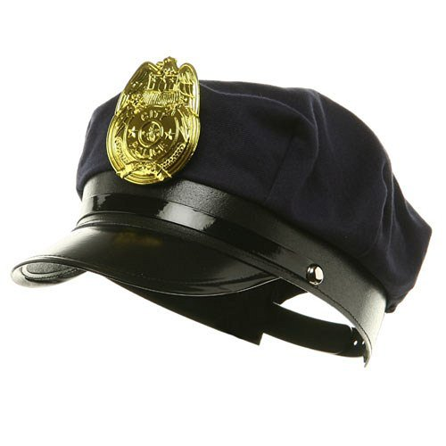 Reno 911 Cop Costumes (Novelty Costume Police Cop Black Hat with Plastic Badge Halloween Accessory)
