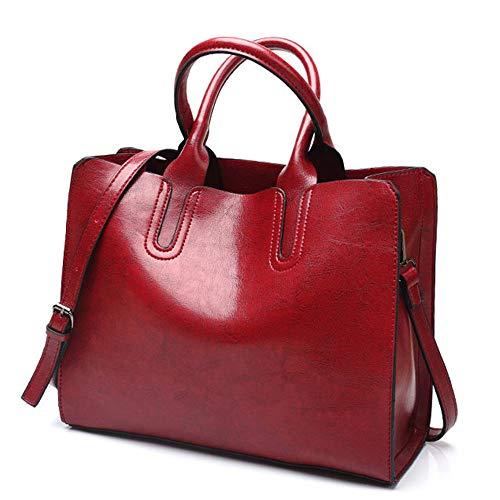 Señoras Red Retro Mano Trabajo De Funciones Mensajero La Viaje Mochila Manera Bolso Gran Múltiples Bolsa Mujeres Pu Hombro Capacidad Las Portátil a4qcf6wRT