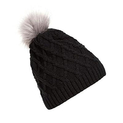 Winhurn Winter Warm Faux Raccoon Fur Knitted Woolen Beanie Women Crochet Hat Cap