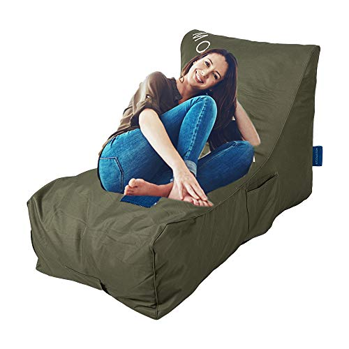 e Lounge Chair Self Expanding Sponge Bean Bag Home Furniture Lazy Relax Comfort Bed Sofa for Adults Kids, Army Green ()