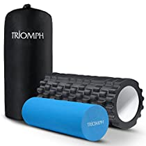 Triomph 2-in-1 Foam Roller EVA with Grid Design for Deep Tissue Release, Sports Massage and Tight Muscles Recovery, Trigger Point Therapy + Smooth Rollers for Rehabilitation