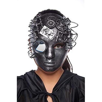Volto Style Venetian Masquerade Steampunk Halloween Masks (Silver Volto Full Face Steampunk Mask): Clothing