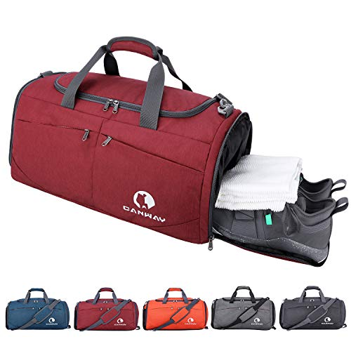 Canway Sports Gym Bag, Travel Duffel bag with Wet Pocket & Shoes Compartmentfor men women, 45L, Lightweight ()
