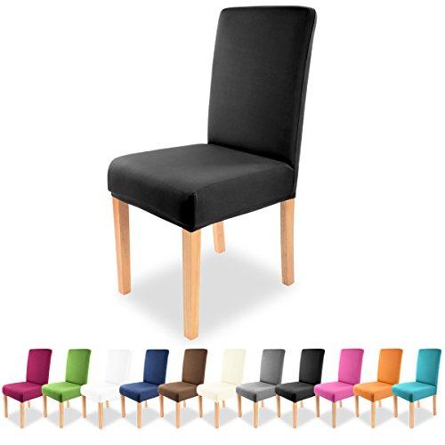 Gräfenstayn Universal-Stuhlhusse Charles in verschiedenen Farben für runde und eckige Stuhllehnen (Schwarz)