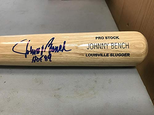 (JOHNNY BENCH REDS HOF 89 SIGNED ENGRAVED LOUISVILLE SLUGGER BAT JSA EE24760)