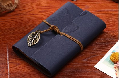 Vintage Leaf Leather Cover Loose Leaf Blank Journal Diary (Blue) - 2