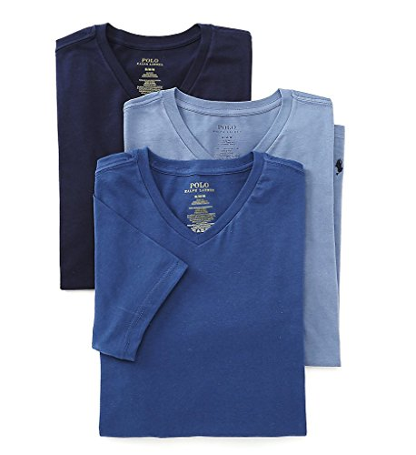 Polo Ralph Lauren Slim Fit V-Neck Undershirts 3-Pack Blue Assorted Large (Ralph Lauren Underwear Men 3 Pack)