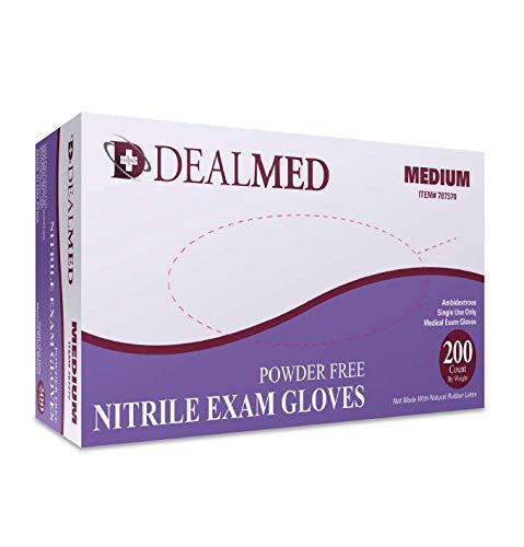 Dealmed Brand Nitrile Medical Grade Exam Gloves, Disposable, Latex-Free, 200 Count, Size Medium from Dealmed