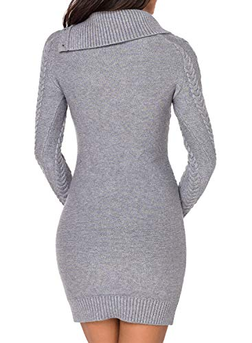 Azokoe Women Slim Fit Knit Bodycon Mini Sweater Dress Jumper