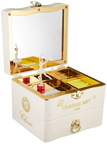 DIFFMELY Jewelry Music Box for Girls with Ballerina Mirror, Hard Material, Retro Violin, Play Random (White, Jewelry Box)