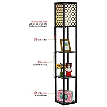 Costzon Shelf Floor Lamp, 3 Storage Shelves Lamp, 63 inch Height, Switch on/Off, ETL Approved (Grid Shade)