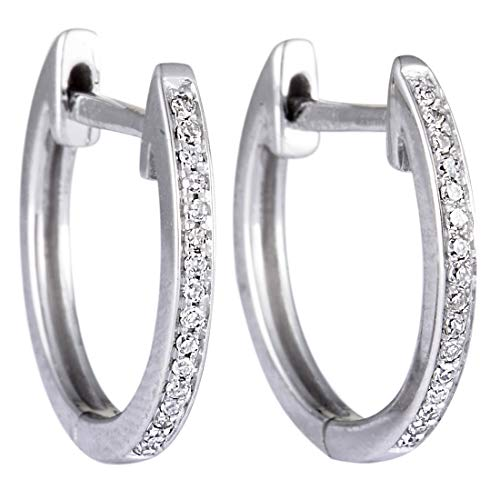 - .08ct Small 14K White Gold Diamond Hoop Earrings