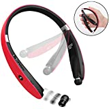 Bluetooth Headphones, Dostyle V4.1 Bluetooth Headset Wireless Stereo Neckband Foldable Sport Earbuds w/Mic and Retractable Earbuds Compatible for iPhone X Samsung Galaxy S9 and Android Phones - Red