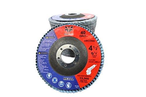 Sanding Discs - 4.5in Heavy Duty Zirconia Abrasive Grinding wheels, 10 Pack ( 40 grit 5pcs & 80 grit 5pcs ) For Angle Grinder, 7/8' Arbor size Grinder wheel 7/8 Arbor size Grinder wheel TruYork TY-FD01024