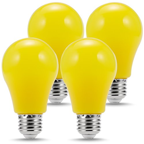 LOHAS Yellow Bulb, Edison Bulb Yellow, LED Light Bulbs Night Light, 25W Equivalent, A19, E26 Base, Holiday Lights for Christmas Decoration(4 Pack)
