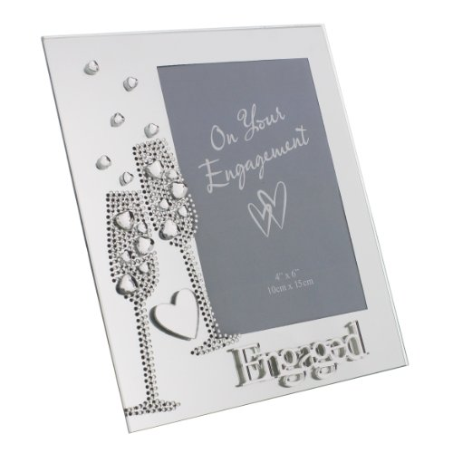 Oaktree Gifts Mirror Photo Frame 4 x 6 diamante style Flute and Heart décor Engaged